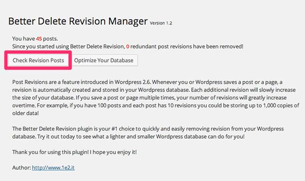 WordPress[Better Delete Revision] 過去の不要なリビジョンを削除する方法